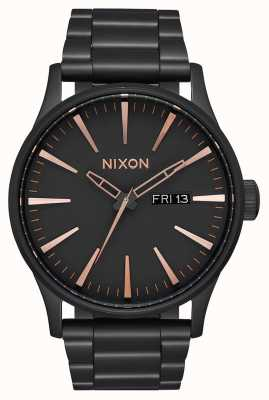 Nixon Sentry SS | All Black / Rose Gold | Black IP Steel Bracelet | Black Dial A356-957-00