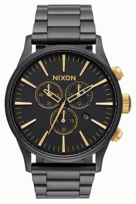 Nixon Sentry Chrono | Matte Black / Gold | Black IP Steel Bracelet | Black Dial A386-1041-00