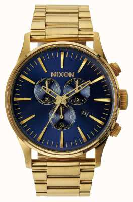 Nixon Sentry Chrono | Gold / Blue Sunray | Gold IP Steel Strap | Blue Dial A386-1922-00