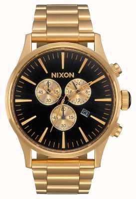 Nixon Sentry Chrono | All Gold / Black | Gold IP Steel Bracelet | Black Dial A386-510-00