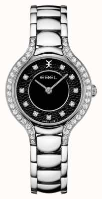 EBEL Women's Beluga | Stainless Steel Bracelet | Black Dial | Diamond Set 1216466