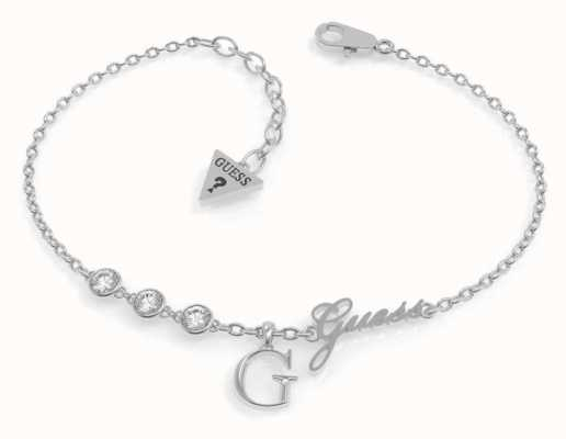 Guess Miniature Silver 'G' Charm Bracelet | Rhodium Plated UBB79038-L