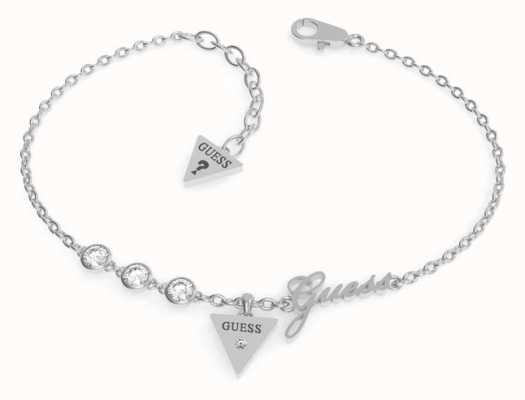 Guess Miniature Silver Triangle Charm Bracelet | Rhodium Plated UBB79044-L