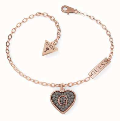 Guess G-Shine Rose Gold Black Heart Charm Bracelet UBB79065-L