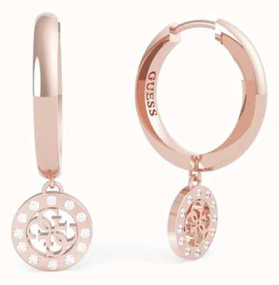 Guess Miniature | Rose Gold 4G Charm Crystal Huggie Earrings UBE79044