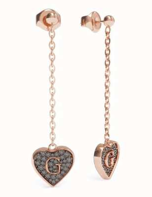 Guess G-Shine | Rose Gold Plated Black Heart Drop Earrings UBE79079