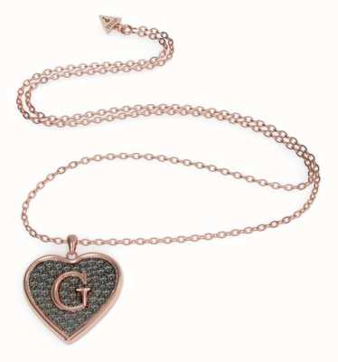 Guess G-Shine Rose Gold Plated Necklace | Black Heart Charm UBN79041