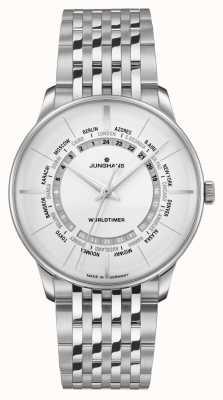 Junghans Meister Worldtimer Plexiglass | Stainless Steel Bracelet | Silver Dial 027/3011.44