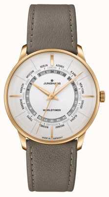Junghans Meister Worldtimer Plexiglass | Brown Leather Strap | Silver Dial 027/5012.00