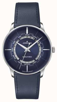 Junghans Meister | Worldtimer Sapphire Crystal | Blue Leather Strap | Blue Dial 027/3010.02