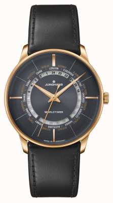 Junghans Meister Worldtimer Sapphire Crystal | Brown Leather Strap | Black Dial 027/5013.02