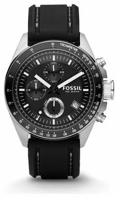 Fossil Mens Black Chronograph Rubber Strap Watch CH2573