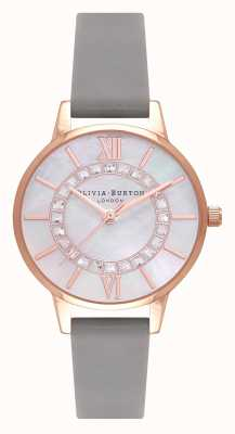 Olivia Burton Wonderland | Midi Grey Leather Strap | Mother Of Pearl Dial OB16WD92