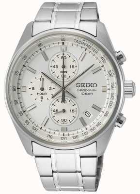 Seiko Men's Stainless Steel Bracelet | White Chronograph Dial SSB375P1
