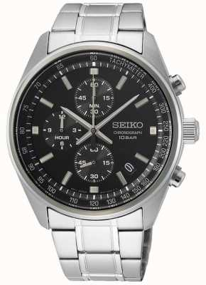 Seiko Men's Stainless Steel Bracelet | Black Chronograph Dial SSB379P1