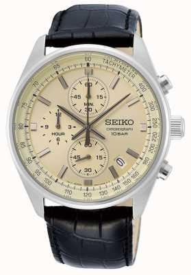 Seiko Men's Black Leather Strap | Cream Dial SSB383P1