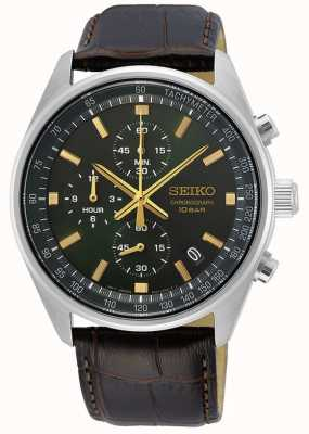 Seiko Men's Brown Leather Strap | Green Dial SSB385P1