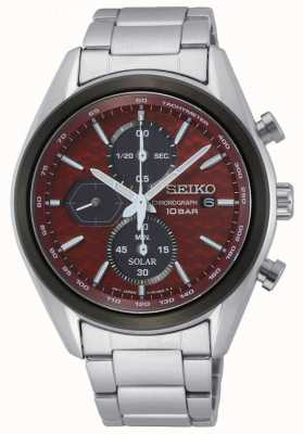 Seiko Men's Solar | Stainless Steel Bracelet | Red Chronograph Dial SSC771P1