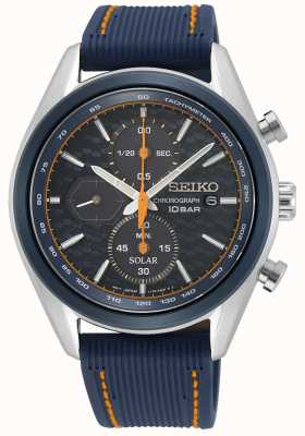 Seiko Men's Solar | Blue Silicone Strap | Blue Chronograph Dial SSC775P1