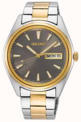 Seiko Men's Two-Tone Steel Bracelet | Black Dial SUR348P1