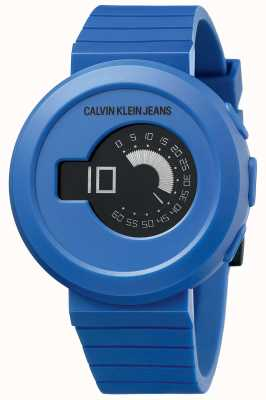Calvin Klein Men's Digirock | Blue Silicone Strap | Black Dial KAN51YV1