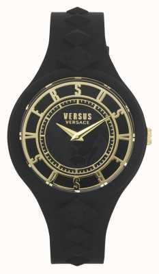 Versus Versace Women's Fire Island | Black Silicone Strap | Black Dial VSP1R1020
