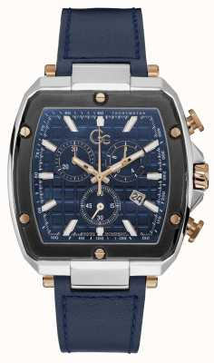 Gc Men's Spirit Tonneau | Blue Leather Strap | Blue Dial Y83001G7MF