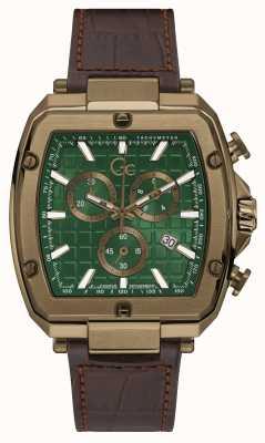 Gc Men's Spirit Tonneau | Brown Leather Strap | Green Dial Y83002G5MF