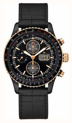 Hamilton Khaki Aviation | Converter Auto Chrono | Black Leather H76736730