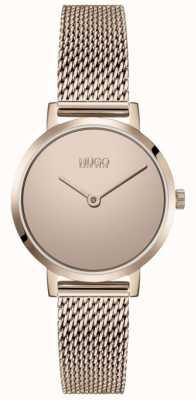 HUGO #CHERISH | Rose Gold PVD Mesh Bracelet | Gold Dial 1540085