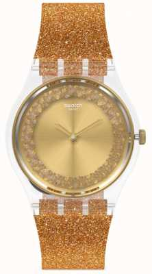 Swatch SPARKLINGOT | Original Gent | Gold Glitter Silicone Strap | Gold Dial GE285