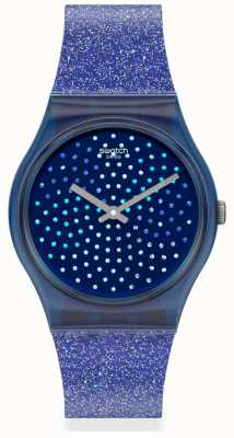 Swatch BLUMINO | Original Gents | Blue Glitter Silicone Strap | Sparkle Dial GN270
