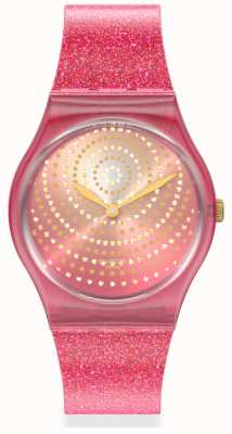Swatch CHRYSANTHEMUM   Original Gents   Pink Glitter Strap   Sparkle Dial GP169