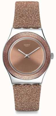 Swatch ROSE SPARKLE | Irony Medium | Rose Gold Glitter Silicone Strap | Rose Dial YLS220