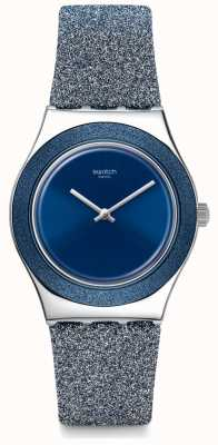Swatch BLUE SPARKLE | Irony Medium | Blue Glitter Silicone Strap | Blue Dial YLS221