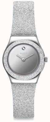 Swatch SIDERAL GREY | Irony Lady | Silver Glitter Silicone Strap | Silver Dial YSS337