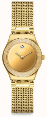 Swatch LUMINESCENT SAND | Irony Lady | Gold PVD Mesh Bracelet | Gold Dial YSG167M