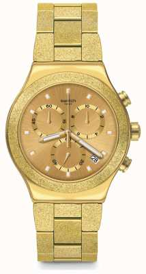Swatch IRONY GOLDSHINY | Irony New Chrono | Gold PVD Steel Bracelet YVG407G
