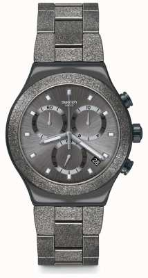 Swatch IRONY BLACKSHINY | Irony New Chrono | Gunmetal PVD Steel Bracelet YVM405G