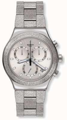 Swatch SILVER EXPLOSION | Irony New Chrono | Silver Steel Bracelet YVS472G