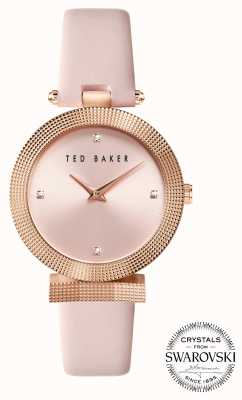 Ted Baker | Women's | Bow | Pink Leather Strap | Pink Dial | Crystal Set | BKPBWF003