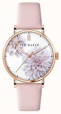 Ted Baker | Women's | Phylipa Peonia | Pink Leather Strap | White Floral Dial | BKPPHF008