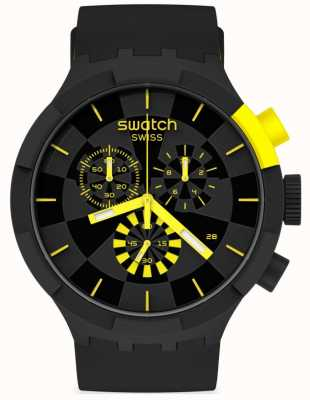 Swatch CHECKPOINT YELLOW | Big Bold Chrono | Black/Yellow Silicone Strap | Black Dial SB02B403
