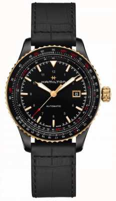 Hamilton Aviation Converter | Black Leather Strap | Black PVP Case H76635730