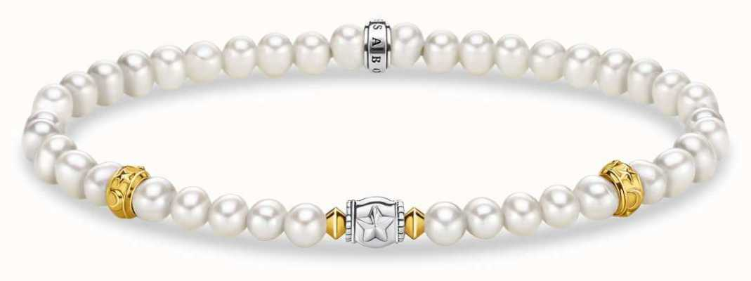 Thomas Sabo Glam & Soul | Beige Pearl Bracelet | Crescent Silver Moon A1979-430-14-L17