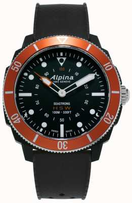 Alpina Seastrong | Horological Smartwatch | Black Silicone Strap | Orange Bezel AL-282LBO4V6
