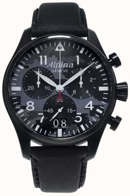 Alpina Startimer Pilot Chrono | Black Synthetic Strap | Grey Dial AL-372BMLY4FBS6