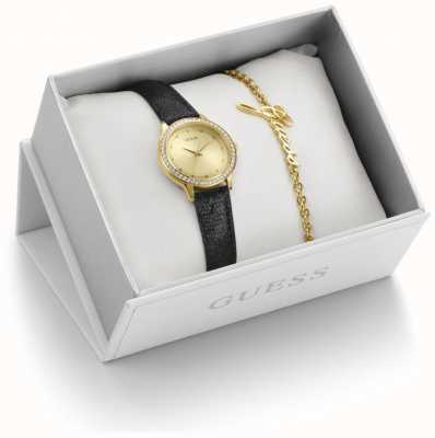 Guess Black Leather And Gold Watch And Bracelet Gift Set UBS82105-L
