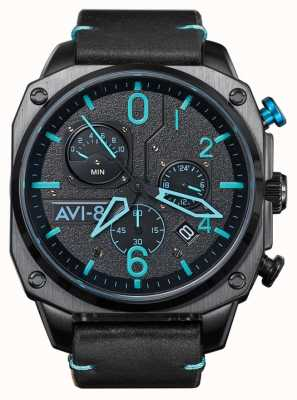 AVI-8 HAWKER HUNTER | Chronograph | Black Leather Strap AV-4052-05