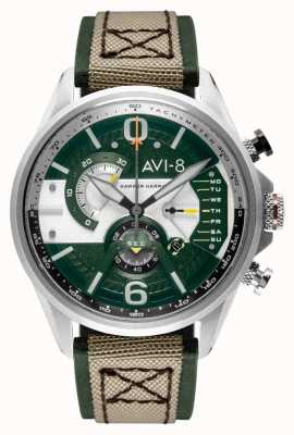 AVI-8 HAWKER HARRIER II | Chronograph | Green Dial | Green Leather Beige Nato Strap AV-4056-02